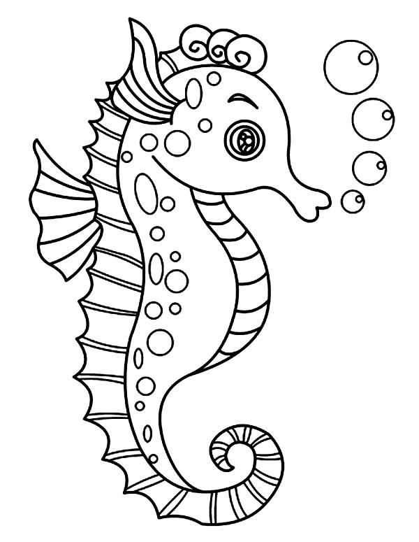 всего, морской конек рисунок контурный женщин